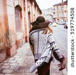 back view  of beautiful ... | Shutterstock . vector #519774508