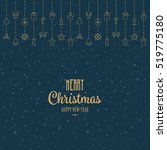 gold christmas elements hanging ... | Shutterstock .eps vector #519775180
