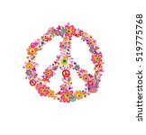 hippie print with peace flower... | Shutterstock . vector #519775768