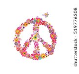 hippie print with peace flower... | Shutterstock . vector #519776308
