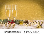 new year toast champagne golden ... | Shutterstock . vector #519777214