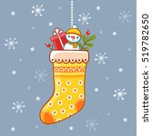 christmas sock with gifts.... | Shutterstock .eps vector #519782650
