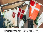 close up danish flag  copenhagen | Shutterstock . vector #519783274
