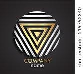 3d golden triangular silver... | Shutterstock .eps vector #519792340