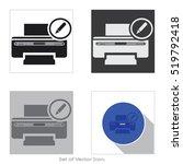 printer icon. set of flat...