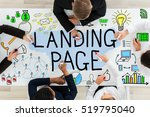 Small photo of High Angle View Of Businesspeople Drawing Landing Page Concept On Office Desk With Colorful Marker