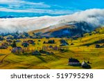rural landscape with fog in... | Shutterstock . vector #519795298