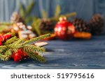 spruce twig with dried orange...   Shutterstock . vector #519795616