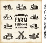 vintage farm buildings set.... | Shutterstock .eps vector #519799456