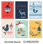 winter holidays cards with new... | Shutterstock .eps vector #519805090