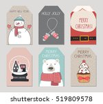 merry christmas tags flyer set. ... | Shutterstock .eps vector #519809578