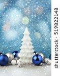 Christmas Decoration On Blue...