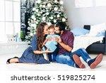modern christmas family... | Shutterstock . vector #519825274