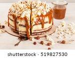homemade cake with hazelnuts... | Shutterstock . vector #519827530