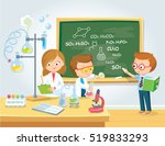 pupils in chemistry class | Shutterstock .eps vector #519833293