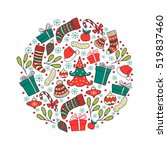 hand drawn winter holiday... | Shutterstock .eps vector #519837460