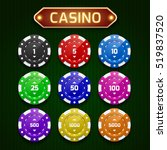 a set of casino chips. vector... | Shutterstock .eps vector #519837520