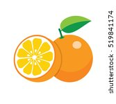 set of fresh ripe half oranges... | Shutterstock .eps vector #519841174