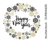 happy new year hand lettering... | Shutterstock .eps vector #519844600