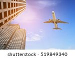 modern tower with airplane... | Shutterstock . vector #519849340