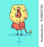 zodiac sign leo. rooster and... | Shutterstock .eps vector #519854734
