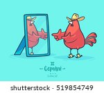 zodiac sign gemini. rooster and ... | Shutterstock .eps vector #519854749