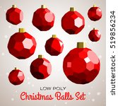 low poly merry christmas balls... | Shutterstock .eps vector #519856234
