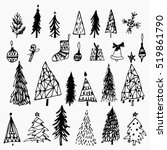 set of hand drawn christmas... | Shutterstock .eps vector #519861790