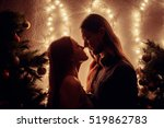 young couple kissing near... | Shutterstock . vector #519862783