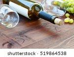 bottle of white wine. ... | Shutterstock . vector #519864538