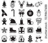christmas and winter icon set.... | Shutterstock .eps vector #519867688