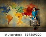 woman on color world map... | Shutterstock . vector #519869320