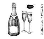 champagne bottle and glass.... | Shutterstock .eps vector #519869479