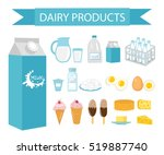dairy products icon set  flat... | Shutterstock .eps vector #519887740