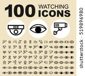 simple set of watching related... | Shutterstock .eps vector #519896980