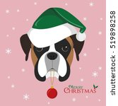 Christmas Greeting Card. Boxer...