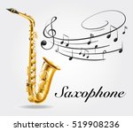 saxophone and music notes on... | Shutterstock .eps vector #519908236