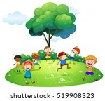 many children playing hopscotch ... | Shutterstock .eps vector #519908323