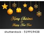 golden christmas greeting card   Shutterstock . vector #519919438