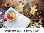 christmas fir tree and notepad... | Shutterstock . vector #519926434