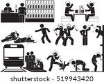 brawl man icon set | Shutterstock .eps vector #519943420