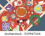 christmas dinner on wood table... | Shutterstock .eps vector #519967144