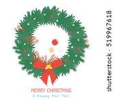 green christmas wreath isolated ... | Shutterstock .eps vector #519967618