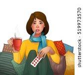 sick brunette girl. cold.... | Shutterstock .eps vector #519973570