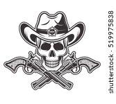 sheriff skull in cowboy hat... | Shutterstock .eps vector #519975838