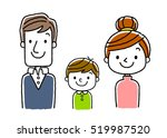 3 people family  parents and 1... | Shutterstock .eps vector #519987520