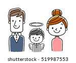 3 people family  bereaved with... | Shutterstock .eps vector #519987553