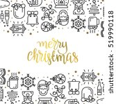 christmas background with flat... | Shutterstock .eps vector #519990118