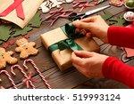 female hands over christmas...   Shutterstock . vector #519993124