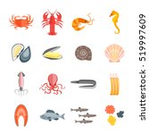 Set Of Seafood For Menu Your...